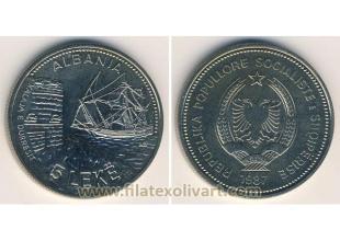 Monedas - Albania - 1987 - KM0057 - 5 Leke Barco S/C