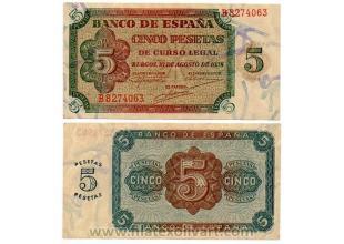 Billetes - España - Estado español - 1938 - 0005pt1938 - S/C - 5 Ptas. 10 agosto 1938 Burgos