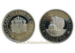 Monedas Rey Conmemorativas FNMT - 1989 - PROOF - V Centenario I Serie 5000 pesetas. Plata