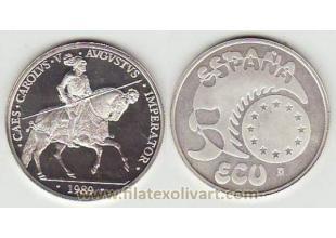 Monedas-España-Ecus- 1989-FDC- 5 Ecu plata