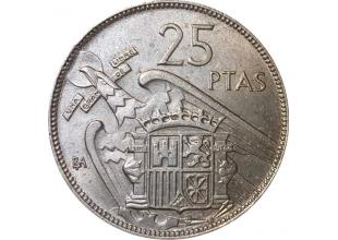 Monedas - España - Monedas Franco circulación - 1957 - EBC - I Expo. Iberoamericana 25 Ptas (BA) emitida en Barcelona.