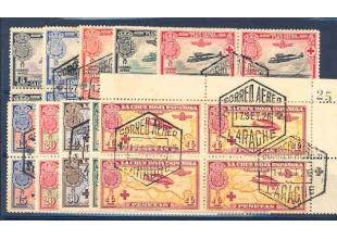 Sellos - España - 1er Centenario - Correo - 1926 - 0339/348 - 1ª Cruz Roja Aérea en bloque de cuatro - Usado